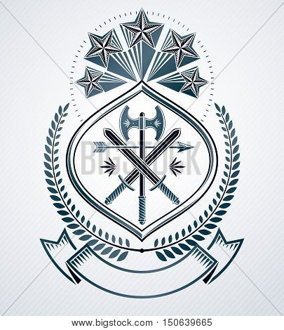 Classy emblem vector heraldic Coat of Arms made using pentagonal stars and with armory inside