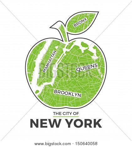 New York Big Apple T-shirt Graphic Design With City Map. Tee Shirt Print, Typography, Label, Badge,