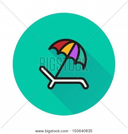 Umbrella Recliner icon on round background Created For Mobile Web Decor Print Products Applications. Icon isolated. Vector illustration