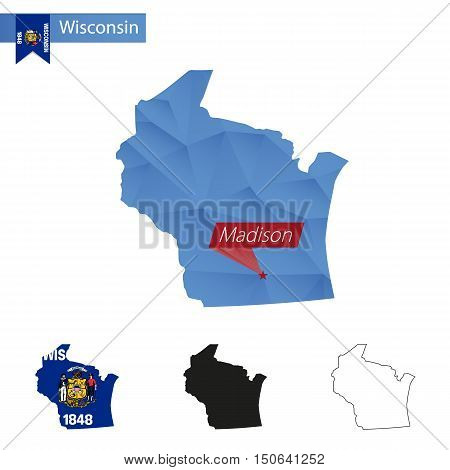 State Of Wisconsin Blue Low Poly Map With Capital Madison.