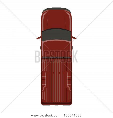 Vector illustration red pick up car truck top view.