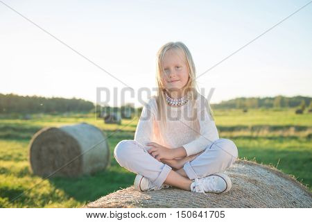 Beautiful Young Girl Sitting On The Haystack