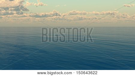 Beautiful sea and clouds sky.3D rendering