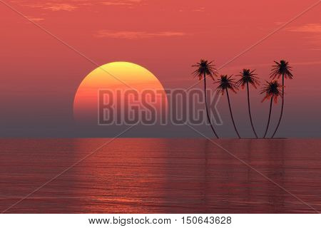 Palms island at sunset sea - 3D rendering