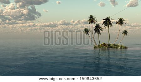 Palms on a small ocean island - 3D rendering