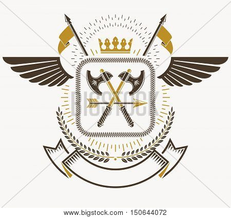 Heraldic Coat of Arms vintage vector emblem with crown and two axes crossed