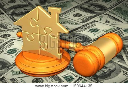 House Puzzle Legal Gavel Concept 3D Illustration