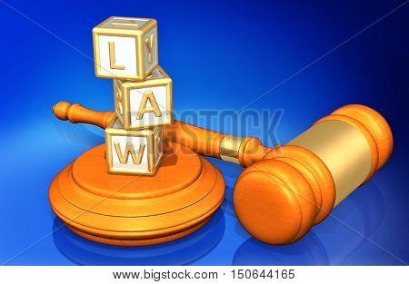 Child Alphabet Blocks Spelling Law Legal Gavel Concept 3D Illustration
