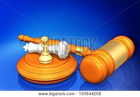 Chess Legal Gavel Concept 3D Illustration