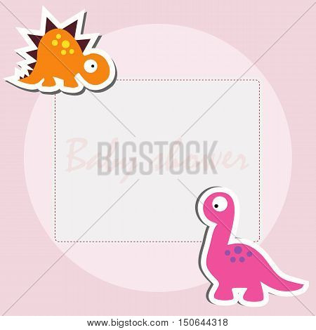 children's decorative frame. suitable for greeting or invitation. baby shower or arrival. cute vector illustration