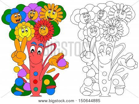 Smiling colorful flowers in a vase smiling as coloring books for small children - vector