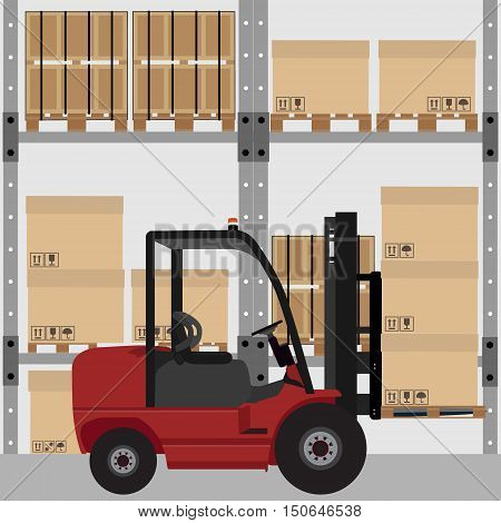 Warehouse vector illustration. Car loader with carton boxes with shipping symbols. Storage design. Warehouse interior