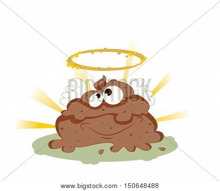 a vector cartoon representing a funny smiling holy shit with eyes and mouth, brown color with wings a golden halo, on a shiny rays background.