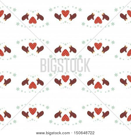 Repeating decorated red hearts and mittens silhouette seamless pattern on the white (transparent) background. Christmas and Happy New Year symbol concept vector illustration