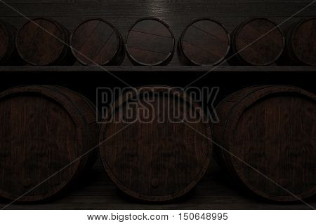 Rows of small and large barrels on wooden shelves highlighted a lamp. 3d illustration