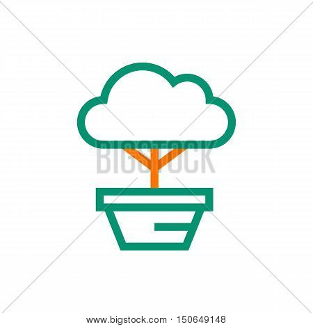 bonsai tree icon on white background Created For Mobile Infographics Web Decor Print Products Applications. Icon isolated. Vector illustration