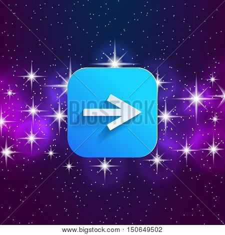 Next arrow icon. Forward sign. Right direction symbol. Square icon and star sky. Vector illustration.