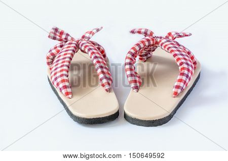 Plaid sandal on the white background. Fashion summer.