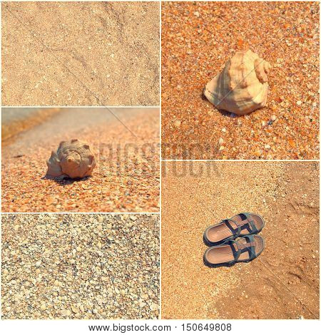 Holiday mosaic of shot of sand, transparent water, shells, flip-flops. summertime. Toned images collage.