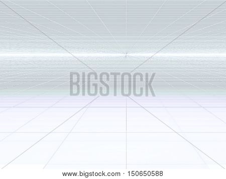 Abstract white background - computer-generated image. Fractal art: glossy surface with grid and perspective. Technology style backdrop for web design, covers, posters.