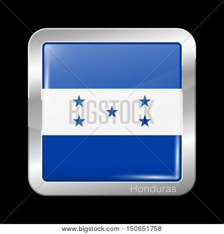 Flag Of Honduras. Metal Icon Square Shape