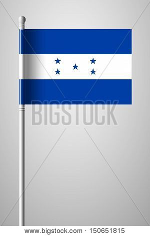 Flag Of Honduras. National Flag On Flagpole
