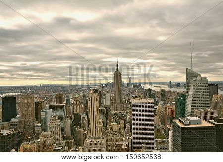 NEW YORK CITY USA - OCTOBER 24 2014: Manhattan Midtown skyline view on cloudy day. New York City is the cultural and financial capital of the world