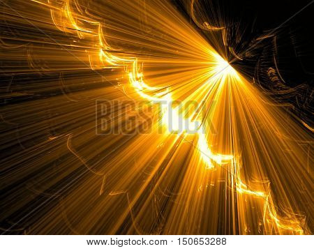 Abstract tech background - computer-generated image. Fractal art: diagonal surface with stripes like rays, light effects and perspective. Backdrop for technology design projects.