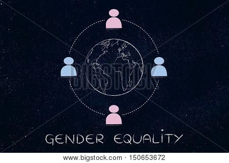 Gender Equality Around The World, Team Of Men And Women