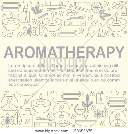 Aromatherapy. Background with icons for aromatherapy and relaxation with place for you text. Pattern for design. Vector illustration.