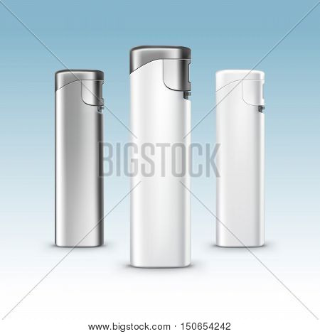 Vector Set of Blank White Plastic Metal Lighters Close up Isolated on Background