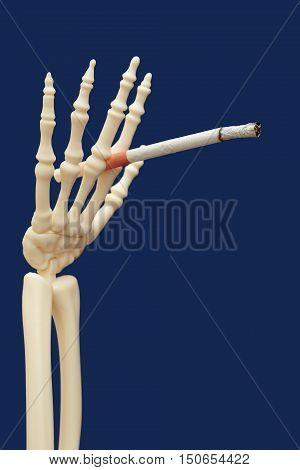 human skeleton smoking and using drugs - death