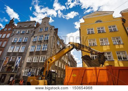 Gdansk Poland - October 04 2016: Repair the road on the Chlebnicka street in the old town of Gdansk