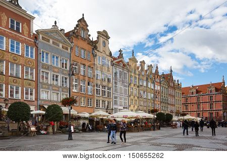 Gdansk Poland - October 04 2016: Some people are walking on a street in old city of Gdansk