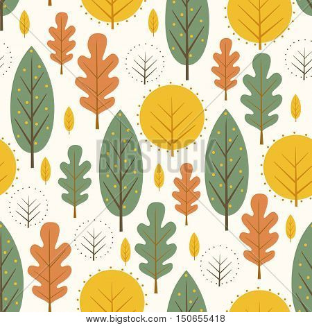 Autumn leaves seamless pattern on white background. Decorative trees vector illustration. Cute forest background. Scandinavian style design for textile, wallpaper, fabric, decor.