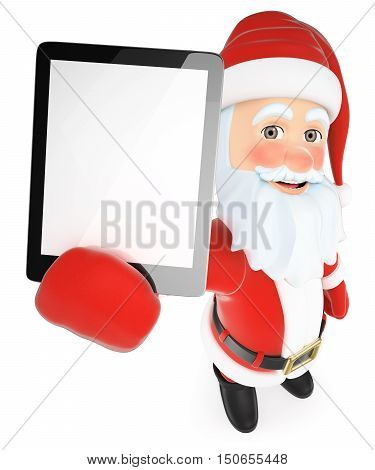 3d christmas people illustration. Santa Claus with a tablet blank screen. Isolated white background.