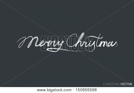 Merry Christmas lettering typography. Text design in handwriting style with ornament soft lines. Happy New Year greeting card decoration on black background for celebrating, festival. Vector.