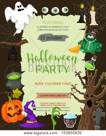 Halloween banner template. Vector background with pumpkin, ghost, candy in flat style. Great design for halloween party, menu or invitation. Retro cartoon style illustration