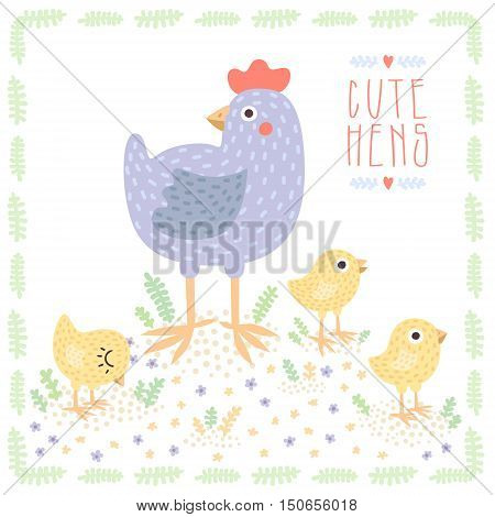 Cute light blue hen with baby chickens cartoon vector illustration.