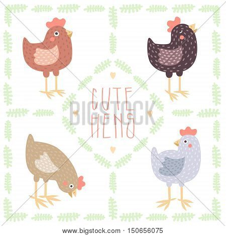 Cute cartoon hens vector set (pastel colors) with leaves.