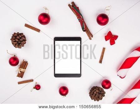 Christmas Decorations. Tablet With An Empty Screen In The Center