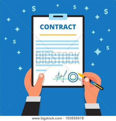 Businessman hands holding pen checking and signing up employment or project contract paper. Signature of official document