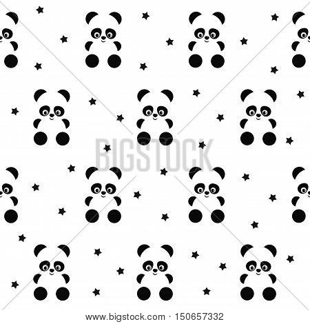 Panda with stars seamless pattern on white background. Cute design for print on baby's clothes, textile, wallpaper, fabric. Vector background with smiling baby animal panda. Child style illustration.