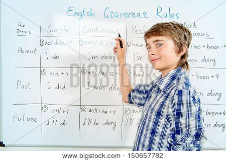 Student boy answers the grammar lesson.  Education, high school, college.