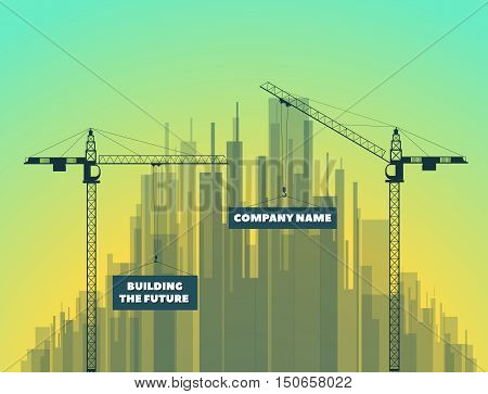 tower cranes on a city background and on sunset