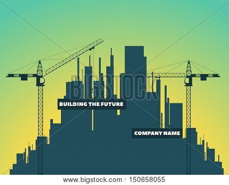 two tower cranes on a background of houses city and sunset