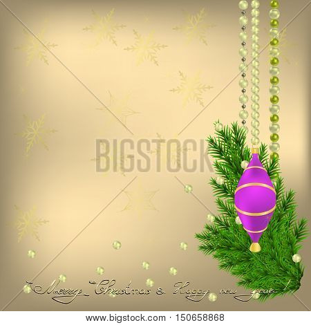 Merry Christmas and happy New Year Greeting card with Christmas tree violet ball and pearls