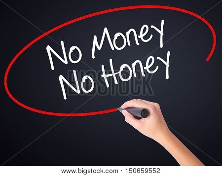 Woman Hand Writing No Money No Honey With A Marker Over Transparent Board .