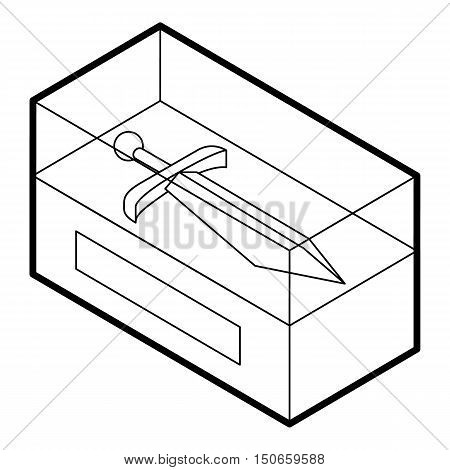 Sword in museum showcase icon in outline style on a white background vector illustration
