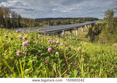 Steel bridge overpass on concrete piers a highway crosses the Russian forest sunny summer day.